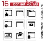 vector black browser icons | Shutterstock .eps vector #163003478