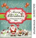 vintage christmas poster design ...   Shutterstock .eps vector #163007450