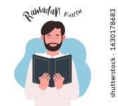 young man hold quran ramadan... | Shutterstock .eps vector #1630178683