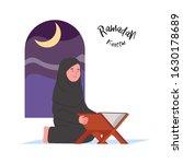 ramadan kareem arab woman read... | Shutterstock .eps vector #1630178689