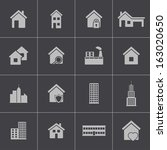 vector black building icons set | Shutterstock .eps vector #163020650