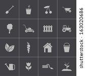 vector black  gardening icons...   Shutterstock .eps vector #163020686