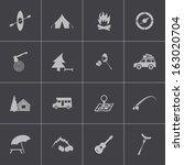 vector black camping icons set