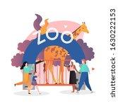 zoo entrance gate  giraffe in... | Shutterstock .eps vector #1630222153