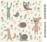 cute north forest animals.... | Shutterstock .eps vector #163030640