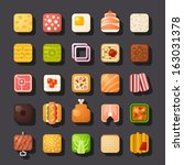 square shaped food icon set - stock vector