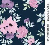 pretty flowers on dark blue... | Shutterstock .eps vector #1630337266