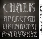 vector sketched chalky alphabet ... | Shutterstock .eps vector #163036208
