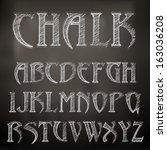 vector sketched chalky alphabet ... | Shutterstock .eps vector #163036208