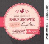 baby shower invitation  girl | Shutterstock .eps vector #163038584