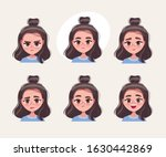 face expressions. cute teenage... | Shutterstock .eps vector #1630442869