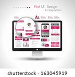 ui flat design elements in a... | Shutterstock .eps vector #163045919