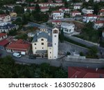 ioannina konitsa aerial view Church St. Kosmas of Aitolos, built in 1975 The church has two chapels, one dedicated to Saint George the Tropaiophorus and the other to Neo-Martyr Ioannis greece epirus