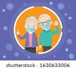 elderly wearing protective... | Shutterstock .eps vector #1630633006