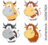 Funny Cows Cartoon Set