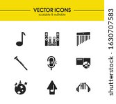 musical icons set with upload...