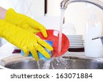close up hands of woman washing ... | Shutterstock . vector #163071884