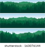Set Of Vector Mountains Forest...