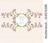 vector wreath with pink flowers  | Shutterstock .eps vector #163076288