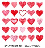 set of hand drawn hearts.  | Shutterstock .eps vector #163079003