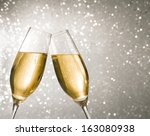champagne flutes with golden... | Shutterstock . vector #163080938
