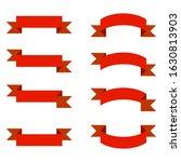 red ribbons banner set on white ...   Shutterstock . vector #1630813903