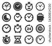 time and clocks icons set on...