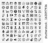 100 doodle web icons | Shutterstock .eps vector #163097936
