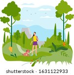 girl with dog goes for a work ... | Shutterstock .eps vector #1631122933
