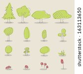 collection of handdrawn  tree... | Shutterstock .eps vector #163113650
