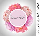 pink peonies flower frame card... | Shutterstock .eps vector #1631160346