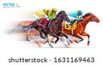 Three racing horses competing with each other, with motion blur to accent speed. Derby. Hippodrome. Racetrack. Sport. Vector illustration