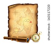 pirates treasure map with... | Shutterstock .eps vector #163117220