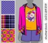 vector set of seamless patterns ... | Shutterstock .eps vector #1631189359