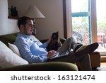 elegant business multitasking... | Shutterstock . vector #163121474
