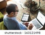 elegant business multitasking... | Shutterstock . vector #163121498