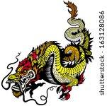 golden dragon illustration... | Shutterstock .eps vector #163128086