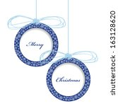 christmas card design with two... | Shutterstock .eps vector #163128620