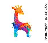 giraffe vector icon. watercolor ... | Shutterstock .eps vector #1631319529