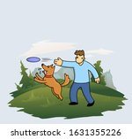 cartoon man training his funny... | Shutterstock .eps vector #1631355226