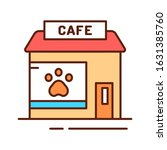 animal cafe color line icon....