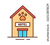 animal hotel color line icon....