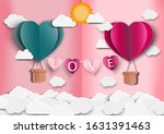 paper art of love and origami... | Shutterstock .eps vector #1631391463
