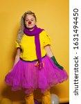 Woman Wearing Colorful Clown...