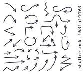 hand drawn black arrows....   Shutterstock . vector #1631514493