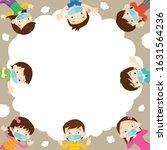 children wearing a medical mask ... | Shutterstock .eps vector #1631564236