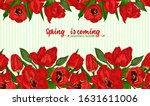 greeting background with spring ... | Shutterstock .eps vector #1631611006