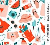summer seamless pattern. hand...   Shutterstock .eps vector #1631651620
