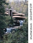Small photo of Mill Run / United States - 04 27 2013: Fallingwater house designed by Frank Lloyd Wright