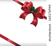 red satin bow with mistletoe... | Shutterstock . vector #163176944